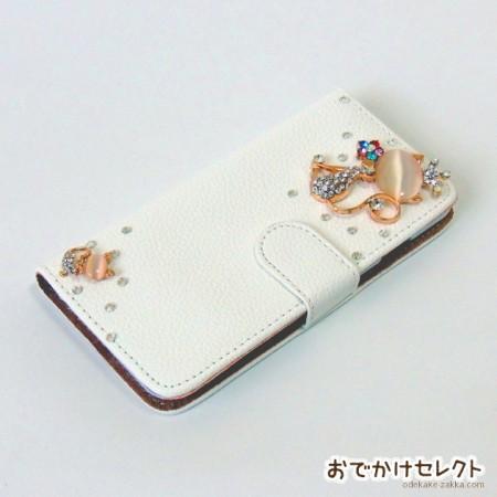 iPhone6s/6 ケース 手帳型 人気 キラキラ デコ 6sPlus,5s ネコの親子