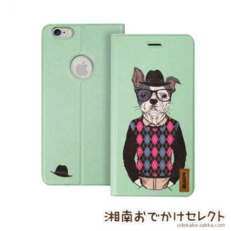 iPhone6 ケース 手帳型 おしゃれなおじさん犬 レザー iPhone6Plus アイフォン6
