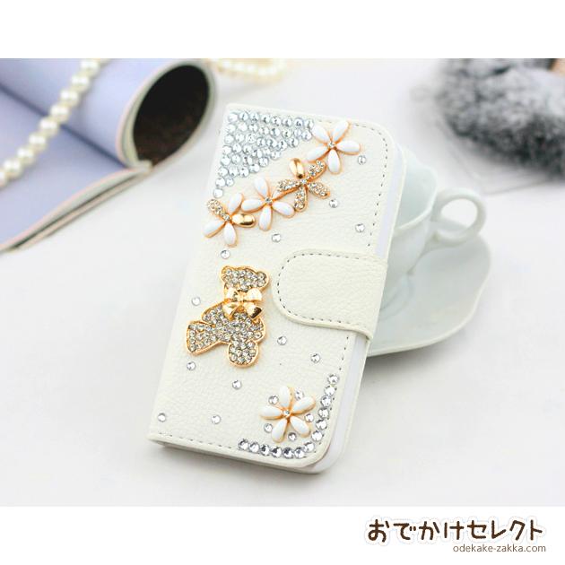 iPhone6s/6 ケース 手帳型 人気 キラキラ 6sPlus,5s,5c クマと小花