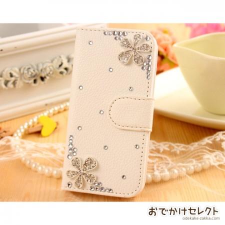iPhone6s/6 ケース 手帳型 人気 キラキラ 6sPlus,SE,5s,5c キラ花2つ